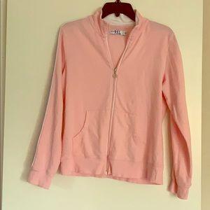 Y2K Pink w/ Grey Stripes Zip Up Sweater 🦄